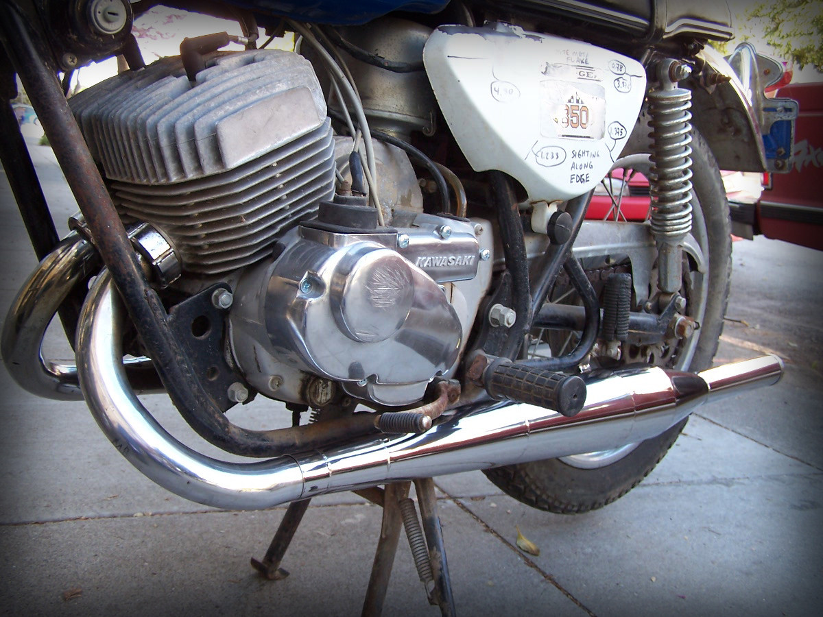 Kawasaki A7 Avenger with polished stainless torque chambers 2